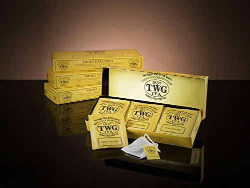 TWG Singapore - The Finest Teas of the World - Smoky Earl Grey - 15 Handnaht Teebeutel aus reiner Baumwolle