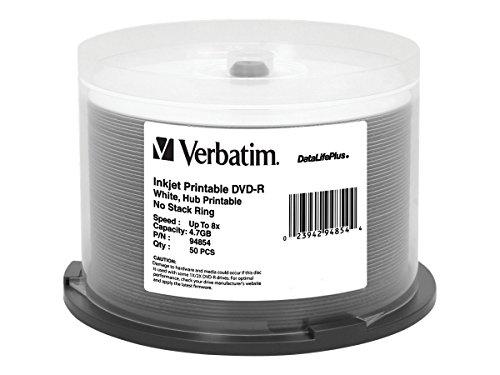 Verbatim DVD-R 4,7 GB 16X Aqua Ace weiß glänzend bedruckbare Oberfläche, Hub bedruckbar – 50 Stück Spindel 8X Hub bedruckbar 120min weiß