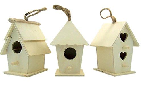 Arts and Crafts Décor Bois Naturel Bois Brut Birdhouse avec Cordon de Jute pour Suspendre, Lot DE 3