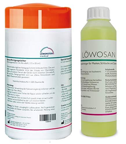 2er Set Löwosan Reinigungsmittel CPAP Spezialreiniger Masken Maskenreiniger und Reinigungstücher Zitrusduft für Schlafmasken