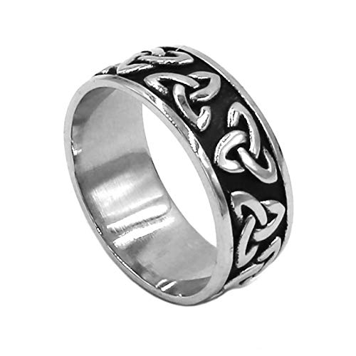Fantasy Forge Jewelry Celtic Triquetra Ring Unisex Stainless Steel Dark Trinity Knot Band Sizes 7-13 (7)