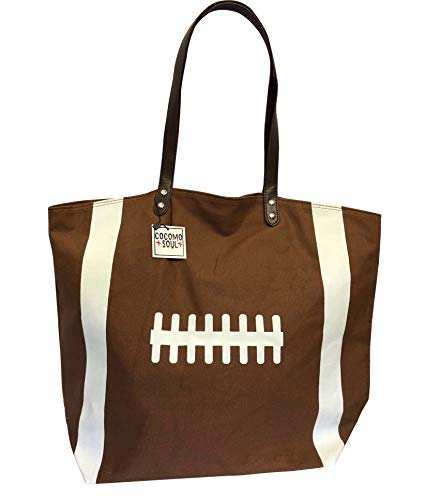 Cocomo Soul Brown Football Canvas Tote Bag Handbag Large Oversize Sports 20 x 17 Inches
