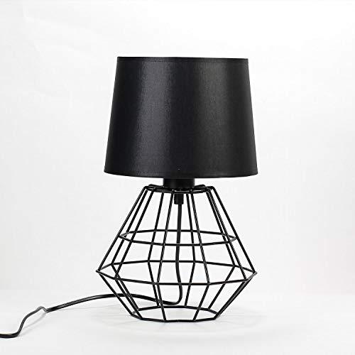 Lámpara mesa pantalla tela negro metal alambre estructura