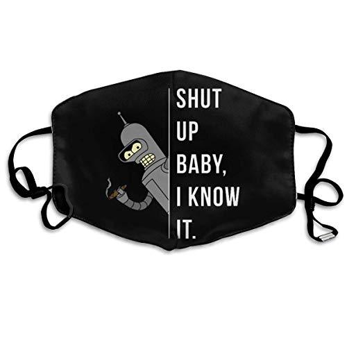 ADICOM Futu-Rama Bender - Halt die Klappe Baby, ich weiß es. Anti-Dust Adjustable Earloop Wiederverwendbar Waschbar Weiß