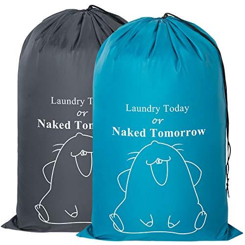 [Amazonブランド] Umi.(ウミ) ランドリーバッグセット 2パック ランドリーバッグ ランドリーバスケット 巾着袋 大サイズ 収納袋 旅行 バッグ 折りたたみ おもちゃ収納袋 洗濯物入れ 収納ポーチ(ブルーとグレー)
