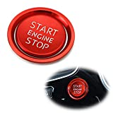 iJDMTOY (1) RS Style Red Aluminum Keyless Engine Push Start Button w/Surrounding Ring Trim Compatible With Audi A4 A5 A6 A7 A8 Q5, etc