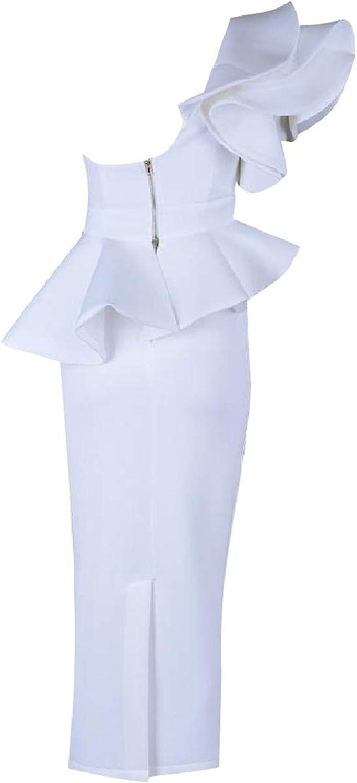 Winme Women's Premium Cocktail Swing Ruffle Asymmetry Bodycon Dresses