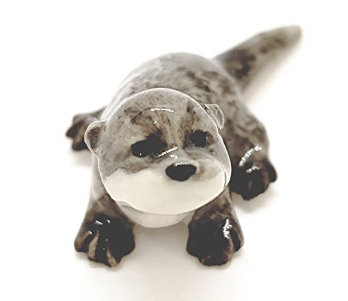 WitnyStore Sea Otter Figurines - Collectible Animal Art - Miniature Hand Made and Painted Porcelain Table Decor Perfect for Gifts and Souvenirs - 1 1/4  L x 1/2  H x 1/2  W