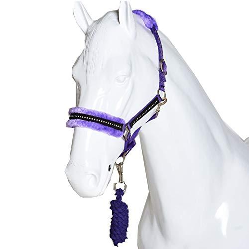 Best On Horse Diamond Halfter für Pferde, Kunstfleece, verstellbar, Reiter, violett, Kaltblut / Warmblut extragroß