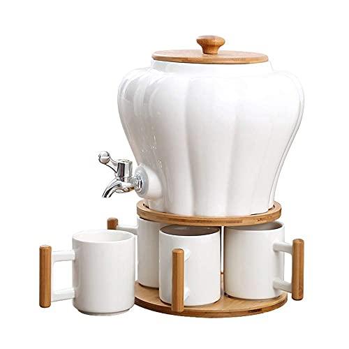 lqgpsx Dispensador de Bebidas Juego de Botellas de Agua fría de cerámica con Grifo Tanque de Agua de Gran Capacidad,Juego de té de Regalo
