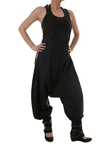 Vishes - Alternative Bekleidung - Baumwoll Latzhose Haremshose Overall schwarz2 36-38
