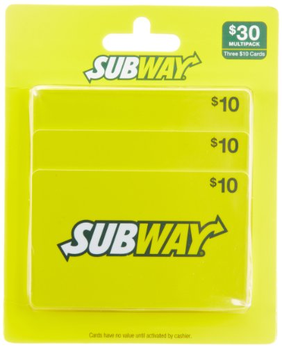 Subway Gift Cards, Multipack of 3 - $10