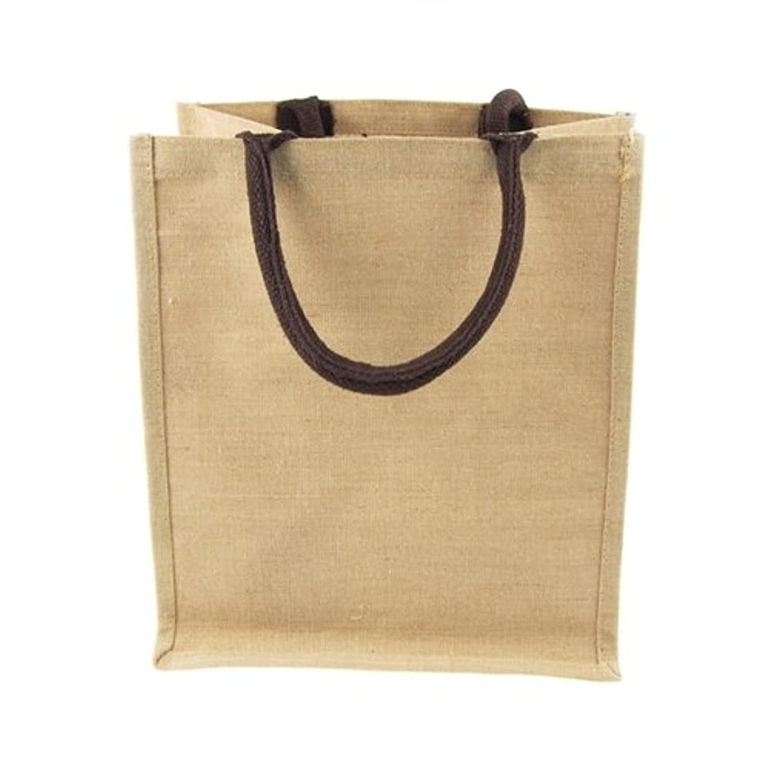 Homeford Firefly Imports Juco Tote Bag with Brown Gusset Handle, 12-Inch