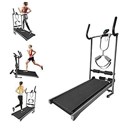 Folding Treadmill, Shock-Absorbing Mechanical Walking Machine, with A Pair of Straight Armrests and A Pair of Curved Armrests, Belt Protection, 330 LB Capacity, for All Ages (Black)
