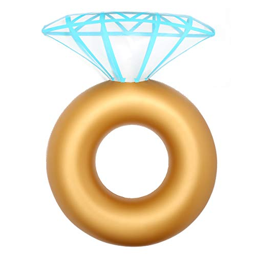 Diamond Golden Ring Pool Floats, Engagement Ring Inflatable Raft Swimming Pools Accessories Bachelorette Party Toys for Pools Beach Toys for Adults