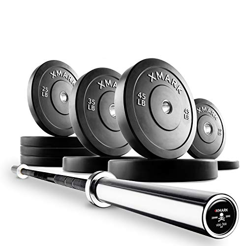 XMark Deadlift Voodoo Commercial Olympic Bar and 280 lb Slim Profile, Low Bounce Premium Olympic Bumper Plate Set, XM-3385