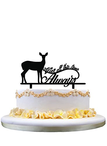 Monogram Cake Topper- After All This Time Always Cake Topper, Wedding Cake Topper with Deer Silhouette, Perfect for Wedding Party Collection