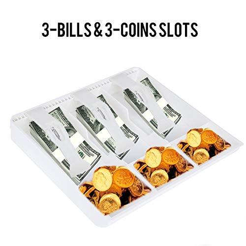 Tonysa Tabblad inzetstuk, 3 bankbiljetten 3 munten Money Storage Box kassalade geldopbergbox voor registreerkast, afmetingen 24,5 x 24,5 x 3,5 cm