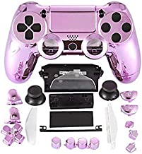 Game Controller Gamepad Shell Chrome pink Housing   Button For PlayStation 4 DualShock PS4 Joystick