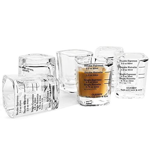 Espresso Shot Glass Set of 6, 2-ounce, Single/ Double Ristretto / Espresso Cup, Quantitative Thick Wall Heavy Base Sturdy Clear Coffee Glassware (Black Print)