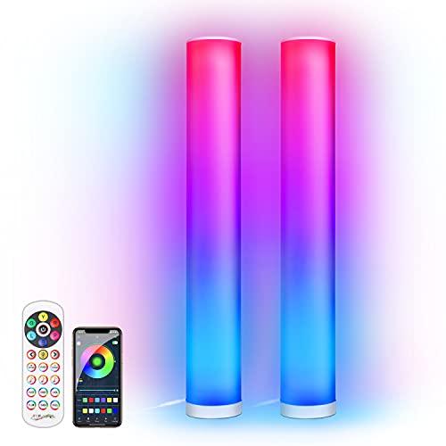 KINGLEAD Lampada da Terra Angolare a LED,2 pezzi LED Dimmerabile Piantana Lampada Alexa RGB Cambia Colore Lampada,Bluetooth APP Controllo Remoto Ambiance Luce D'angolo per Soggiorno Camera da Letto