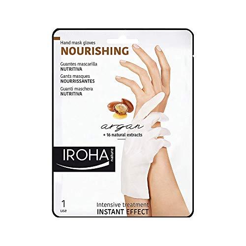 Iroha Nature - Guantes Nutritivos para Manos con Argán, 2 Guantes para un uso | Mascarilla Nutritiva Manos Aceite de Argán