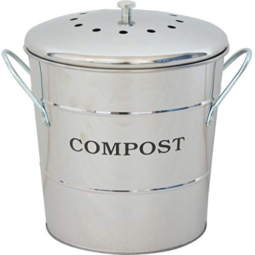 Best Deals! R.Y.SOMTA Stainless Steel Compost Bin for Kitchen,1.3 Gallon Compost Kitchen Pail - Incl...