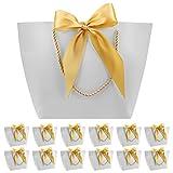 12 Bolsas de Regalo con Asa- Bolsas de Regalo de Papel con Cinta de Lazo, Elegantes Bolsas para Cumpleaños, Bodas, Graduaciones, Bolsas de Regalo de Bricolaje (gris plateado, 28x20x9 cm)