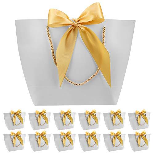 PHOGARY 12er Geschenktüten - Geschenkbeutel aus Papier mit Bogen Band, Elegant papiertüten für Geburtstag, Hochzeit, Abschluss-Feier, DIY geschenktüten (Silber-Grau, 28x20x9cm)