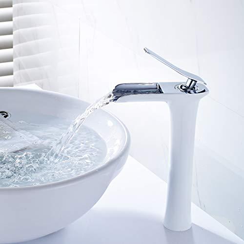 QD Wasserfall Wasserhahn Bad Mischbatterie Badarmatur Waschbeckenarmatur Waschtischarmatur Badezimmer Hoch Chrom Weiß