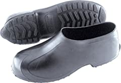 The product is ankle high Overshoe Reinforced heel and toe is designed to stand up to tough daily wear The product has 100% waterproof protection Featuring seamless construction and slip resistant traction outsole also will not crack or stiffen in th...