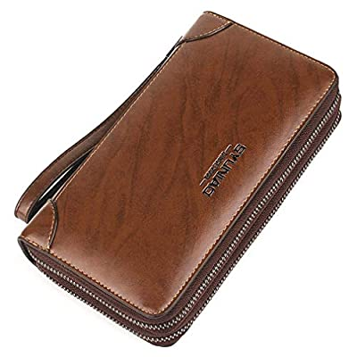 Men's Wallet Leather Soft Leather Hand Bag Large-Capacity Double Zipper Long RFID Shielding Minimalist with Zipper Money Clip