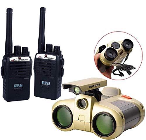 HALO NATION Walkie Talkie & Night Vision Binoculars for Kids, Binoculars Night Scope 4x30 Telescope with Pop-up Spotlight and Night Beam Vision, Zoom Binoculars Fun Cool Toy Gift