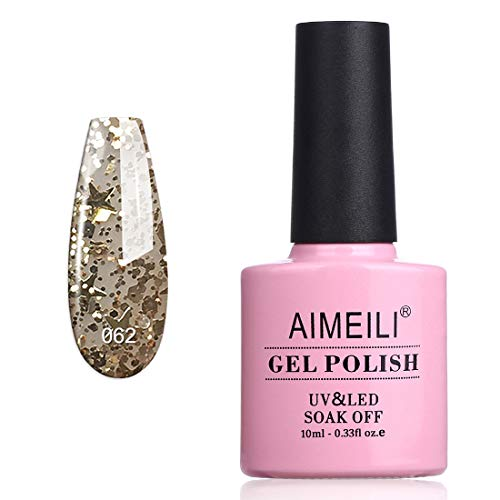 AIMEILI UV LED Gellack ablösbarer Gel Glitzer Nagellack Gel Polish - Golden Superstar Klar Glitzer (062) 10ml