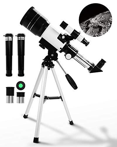 Uong Astronomisches Teleskop, Professionelle 150X 90X 45X Kinder Teleskop Fernrohr 70mm Refraktor Teleskop mit Stativ Lernspielzeug für Astronomie Anfänger Kinder Bildung und Geschenk (Weiß