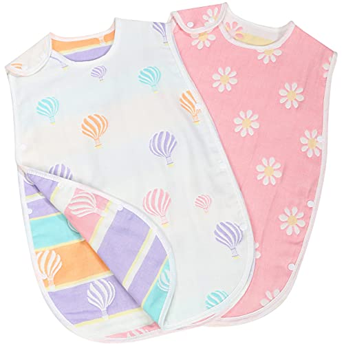 Lipilea スリーパー 赤ちゃん ベビー 6重 ガーゼ 寝袋 綿 100% 女の子 男の子 出産祝い 新生児~3歳 (1.花柄&気球(2枚セット))