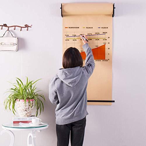 FYLD 69cm muur gemonteerde opknoping ezel volwassen doe-het-zelf tekening notitie kraft papier rol en zwarte beugel houder huisdecoratie voor kinderen slaapkamer, kunstenaar studio, woonkamer