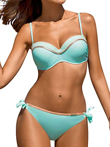 Yuson Girl – Bikini para mujer, 2 piezas, con cuello en contraste, color de contraste, parte superior de bandeau Mar azul. XXL
