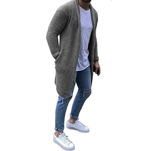 Fulision Cárdigan para Hombre Suéter Cuello Chal Color Liso Frente Abierto Manga Larga Tejido Slim Fit Abrigos con Bolsillos
