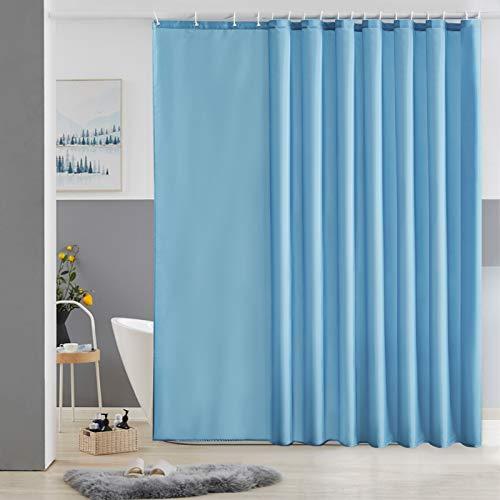 Furlinic Duschvorhang Überlänge Badvorhang Anti-schimmel für Dusche & Badewanne Textile Gardinen aus Stoff Antibakteriell Wasserdicht Hellblau Extra Breit 275x180cm mit 18 Duschringen.