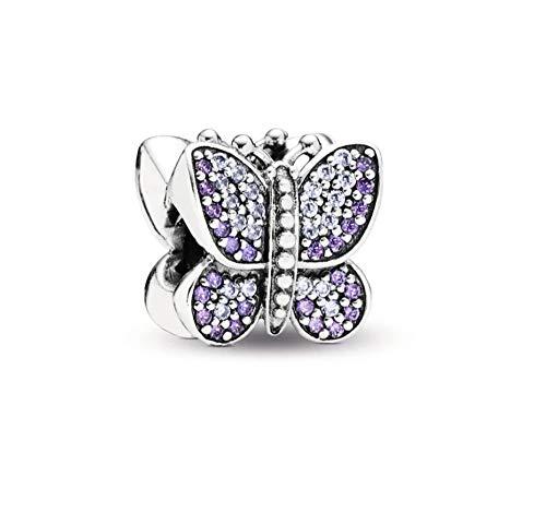 MiniJewelry - Abalorio para pulsera, diseño de flor, magnolia, arcoíris Morado