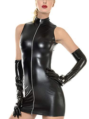 Patrice Catanzaro Elegantes Wetlookkleid LINDSAY - einfach schön und preiswert (S, schwarz)