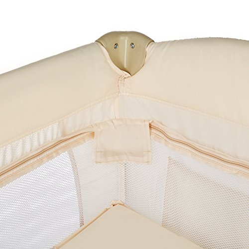 TecTake Cuna infantil de viaje de altura ajustable con acolchado para bebé - disponible en diferentes colores - (Beige | 400467)