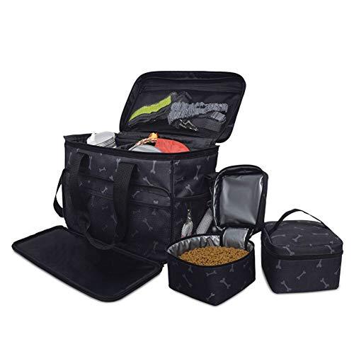 TUYU Bolsa de viaje para perros para transportar alimentos, bolsa de almacenamiento de alimentos para mascotas con correa para el hombro, bolsa Oxford 600D para cachorro, 38 x 24 x 32 cm, 1910CWL0179