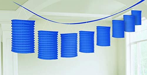 Accordion Style Paper Lantern Garlands   Bright Royal Blue   Party Decor