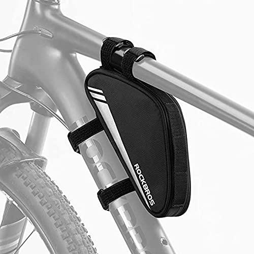 ROCKBROS Bolsa Cuadro de Bicicleta Triangular Bolsa de Almacenamiento para MTB Bicicleta Carretera DH, Negro