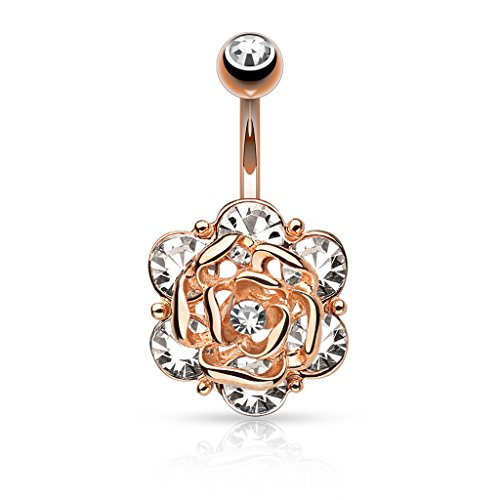 """Flower Head with Six Gems and Center CZ Navel Ring 14g 3/8"""" Length (Rose Gold)"""