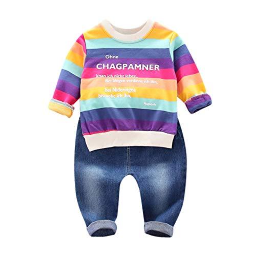 Kobay- Jungen Kleinkind Jungen Baby Regenbogen Brief gestreiften Top Shirt + Jeans Set Kind Brief Streifen Regenbogen Langarm + Jeans zweiteiliges Set (6M-3Y) (90,12-18 Monate, Rot)