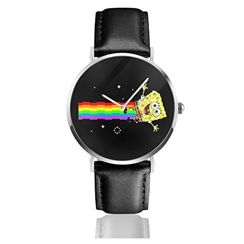 Unisex Business Casual Spongebob Schwammkopf Nyan Cat Meme Watches Quarz Leder Armbanduhr mit schwarzem Lederband für Männer und Frauen Young Collection Geschenk