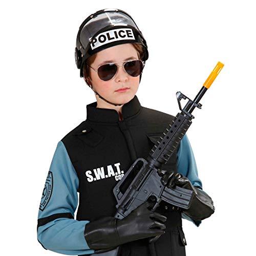 NET TOYS Casco Infantil de policía en Color Negro Gorro niño